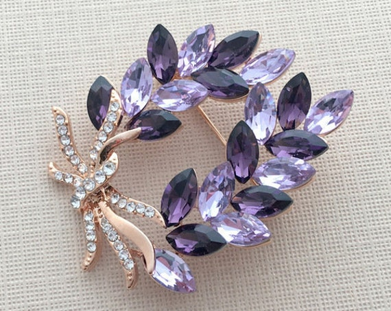 Purple Rhinestone & ROSE GOLD Brooch Pin