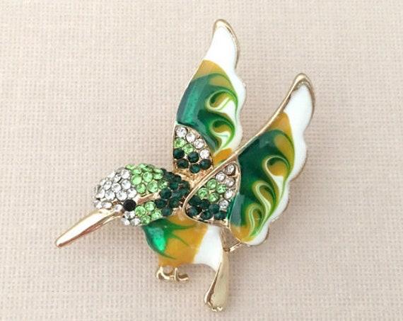 Green Hummingbird Enamel Brooch Pin