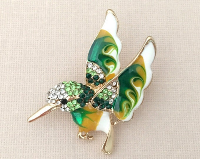 Green Hummingbird Enamel Brooch Pin