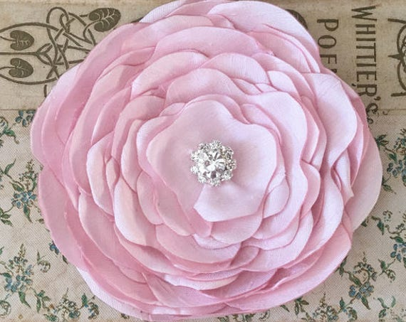 Light Pink Silk Fabric Flower Brooch Pin or Hair Clip. Choose your size and button/bead finish. Handmade.