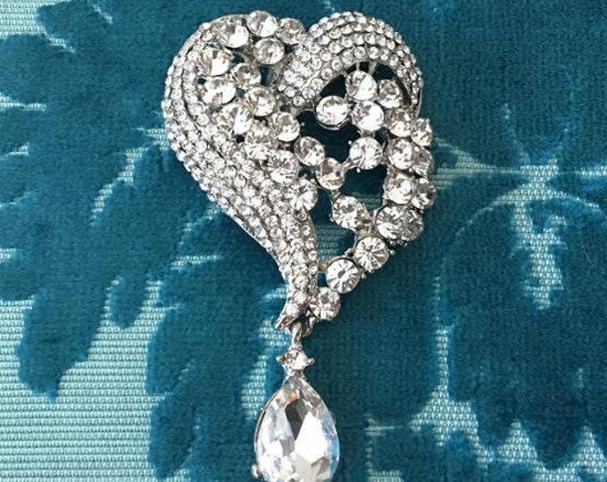 Rhinestone Heart Pendant for Chain