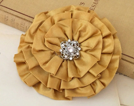 Gold Silk Fabric Flower Brooch Pin and/or Hair Clip. Choose your button/bead finish. Handmade.