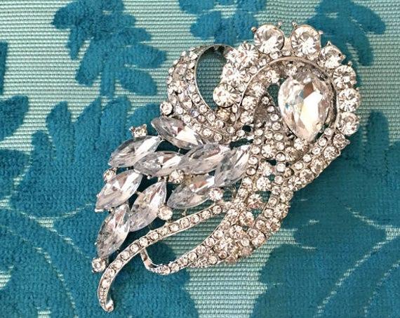 Art Deco Brooch.Silver Rhinestone Brooch.Art Deco Style Silver Brooch.Art Deco Crystal Brooch.Platinum Rhinestone Brooch.Rhinestone Pins