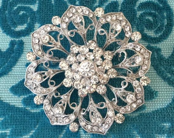 Platinum & Rhinestone Flower Brooch Pin