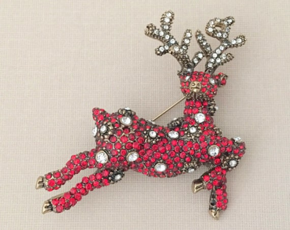 Red Rhinestone Reindeer Brooch Pin