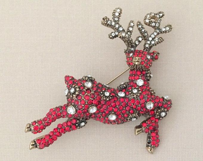 Red Rhinestone Reindeer Brooch Pin
