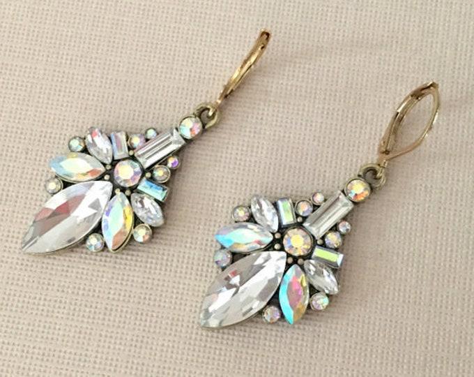 Gold Aurora Borealis Dangle Earrings