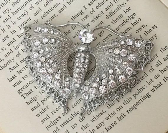 Bridal Butterfly Brooch.Butterfly Brooch.Pendant.Large Butterfly.Crystal Butterfly.Rhinestone Butterfly.Butterfly Pin.Wedding.Silver