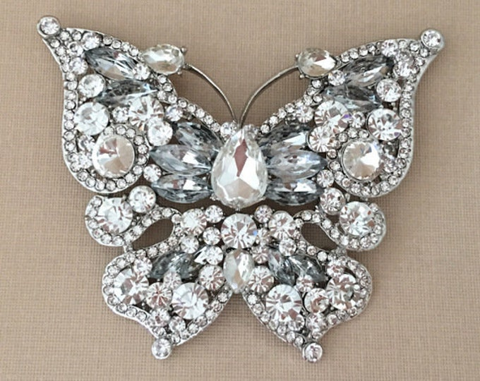 Large Rhinestone Butterfly Brooch Pin