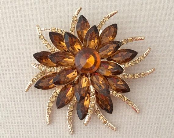 Rhinestone Flower Topaz Brooch Pin