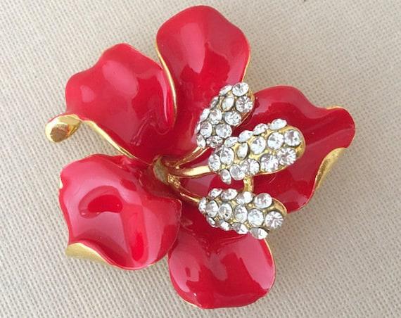 Red Hibiscus Brooch.Red Rhinestone Flower Brooch.Red Crystal Flower Brooch.Red Hibiscus Broach.Red Hibiscus Pin.Red Gold Flower Brooch Pin