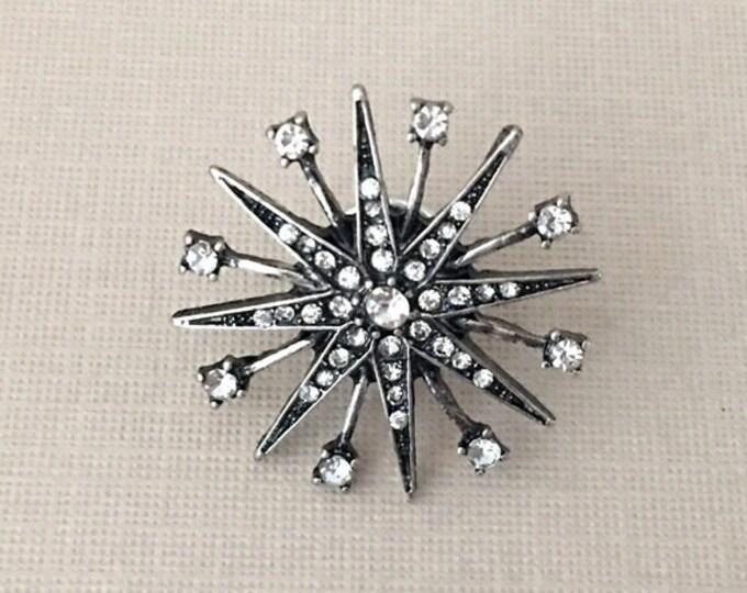 Antique Silver & Rhinestone Lapel Pin