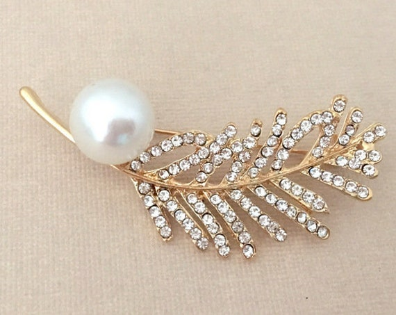 Gold Pearl Feather Brooch Pin
