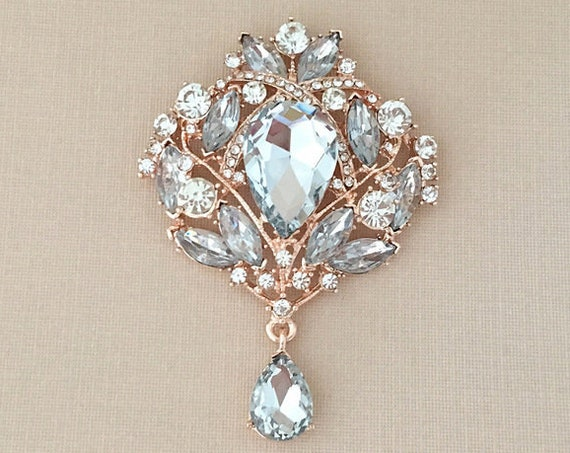 Large Rose Gold Rhinestone Brooch Pin. Bridal, etc.