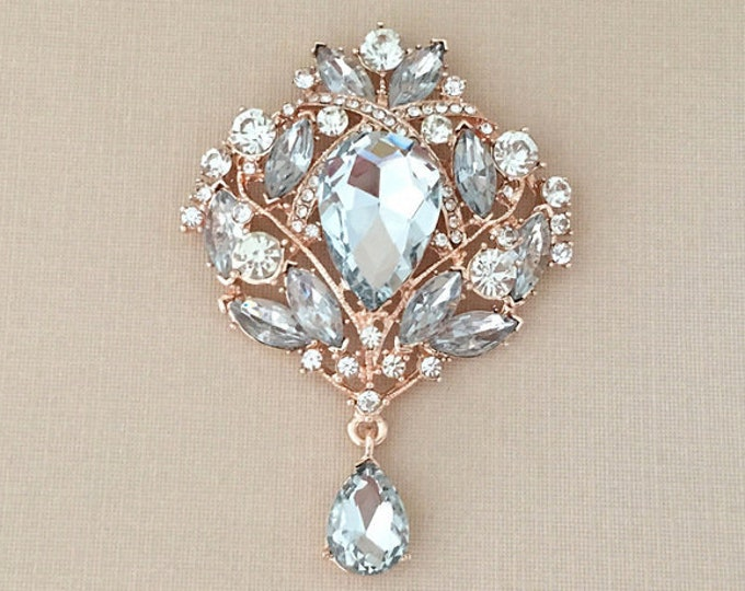 Large Rose Gold Rhinestone Brooch Pin. Bridal, etc.