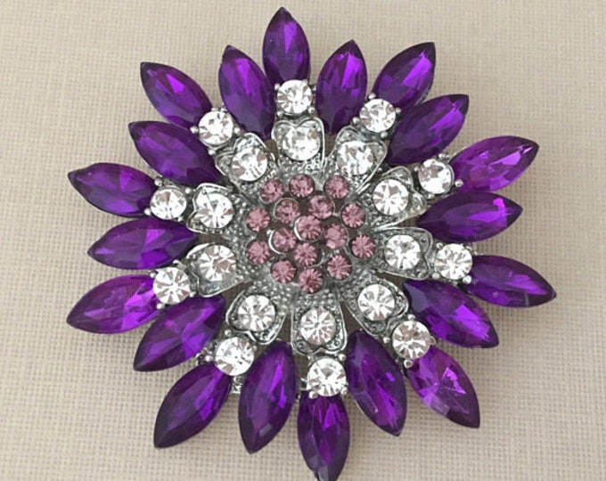 Purple Rhinestone Brooch Pin
