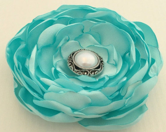 Aqua Satin Flower Brooch Pin or Hair Clip. Choose your size and button/bead finish.
