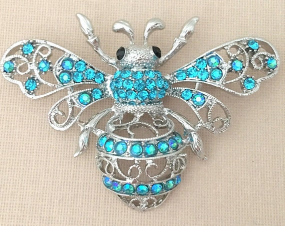 Turquoise Bee Brooch.Bee Brooch.Rhinestone Bee Brooch.Bee Broach.Turquoise Bee Pin.Wedding.Bee Brooch Pin.Crystal Bee Brooch.Bridal