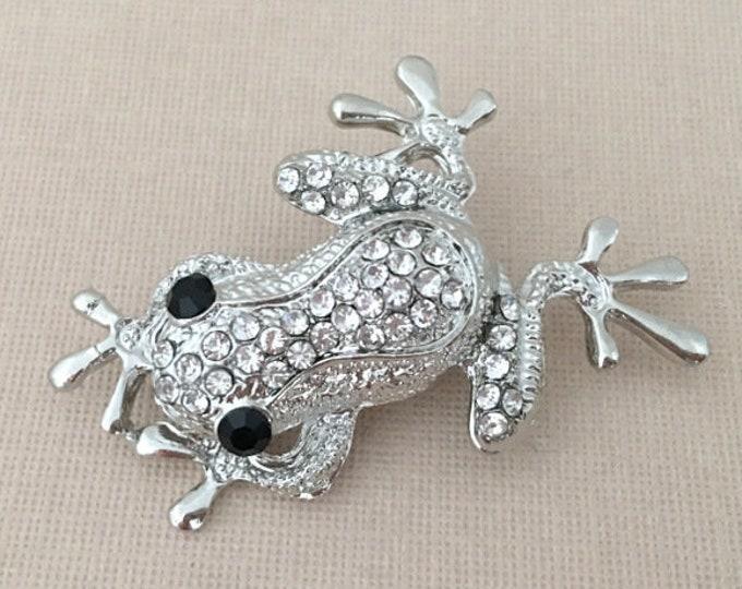 Rhinestone Frog Brooch Pin