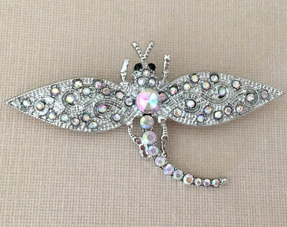AB Dragonfly Brooch.Aurora Borealis Dragonfly Brooch.AB Dragonfly Pin.AB Dragonfly Broach.Silver iridescent dragonfly Brooch Pin.Wedding