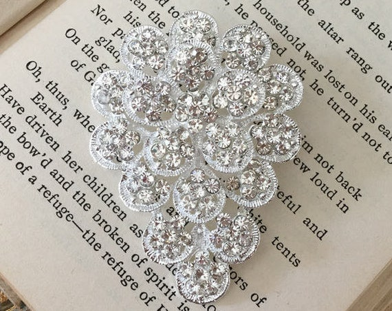 Silver Crystal Flower Brooch Pin