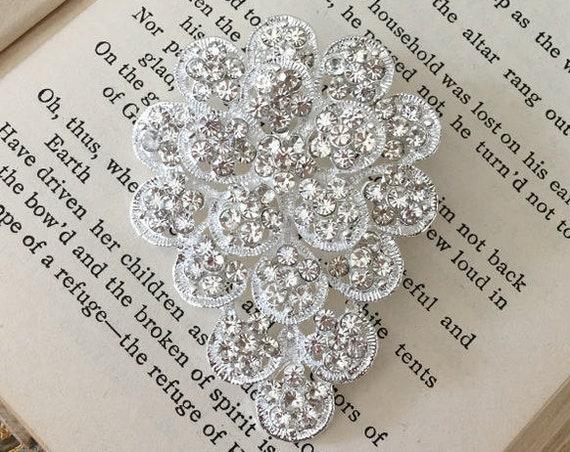 Rhinestone Silver Flower Brooch Pin