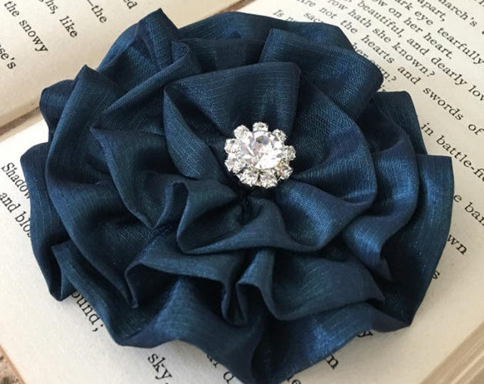Teal Flower Brooch Pin and/or Hair Clip. Choose your button/bead finish. Handmade.