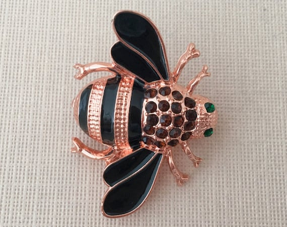 Rose Gold Rhinestone Bee Brooch Pin