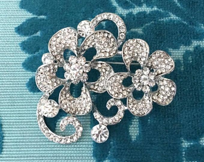 Rhinestone & Platinum Flower Brooch Pin