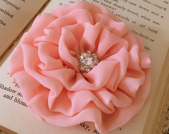 Peach Chiffon Flower Hair Clip and/or Brooch Pin. Choose your button/bead finish. Handmade.