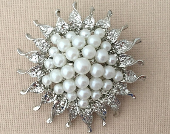 Pearl Sunflower Brooch Pin