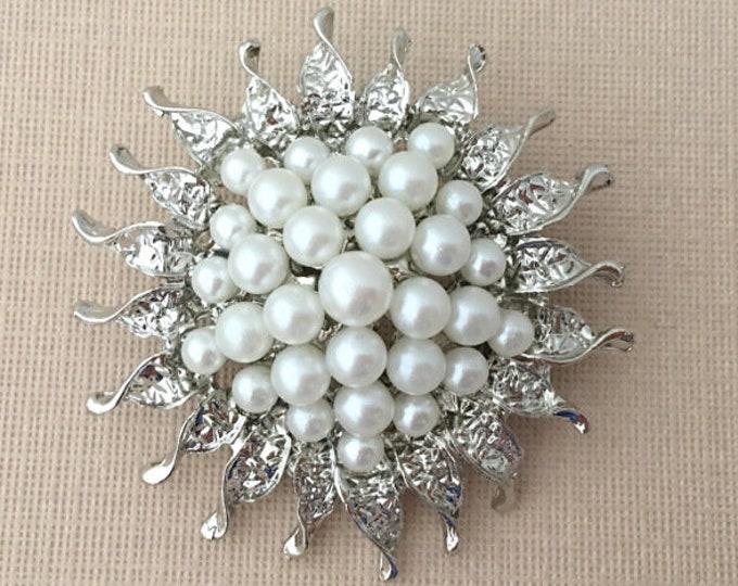 Pearl Sunflower Brooch Pin