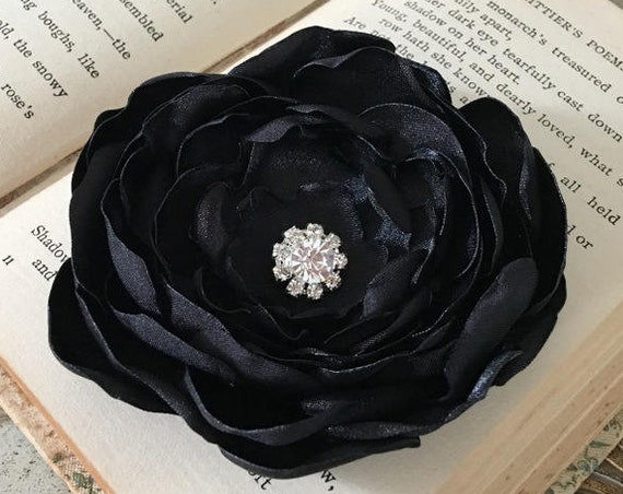 Black Satin Flower Brooch Pin or Hair Clip. Choose your size and button/bead finish.