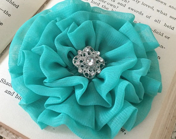 Jade Green Fabric Flower Hair Clip and/or Brooch Pin. Choose your button/bead finish. Handmade.