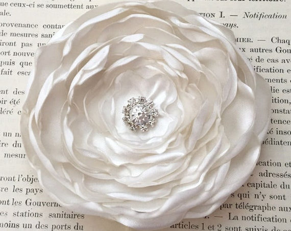 Ivory Satin Flower Hair Clip or Brooch Pin. Choose your size and button/bead finish. Handmade.