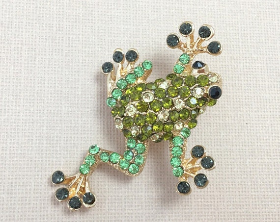 Green Rhinestone Frog Brooch Pin