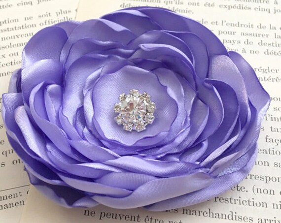 Periwinkle Purple Flower Hair Clip or Brooch Pin.Choose your size and button/bead finish. Handmade.