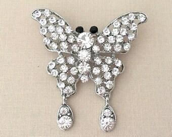 Butterfly Wedding Brooch.Butterfly Brooch.Butterfly Rhinestone Brooch.Crystal Butterfly Brooch.Butterfly Pin.Butterfly Broach.silver.clear