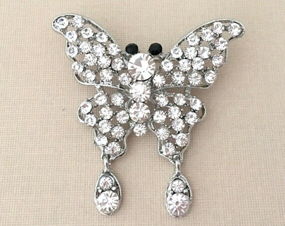 Rhinestone Butterfly Brooch Pin