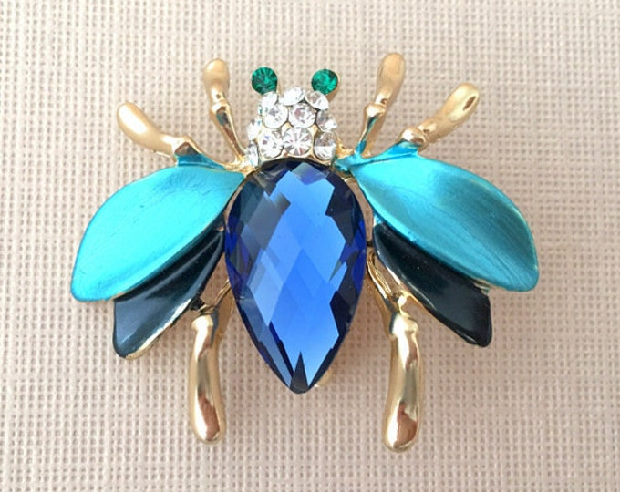 Bee Blue Enamel Brooch Pin. SLIGHT SECONDS JEWELRY*.