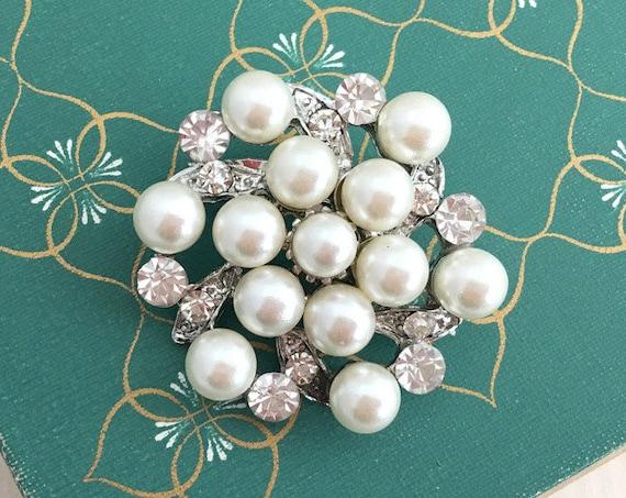 Pearl, Rhinestone, & Silver Brooch Pin