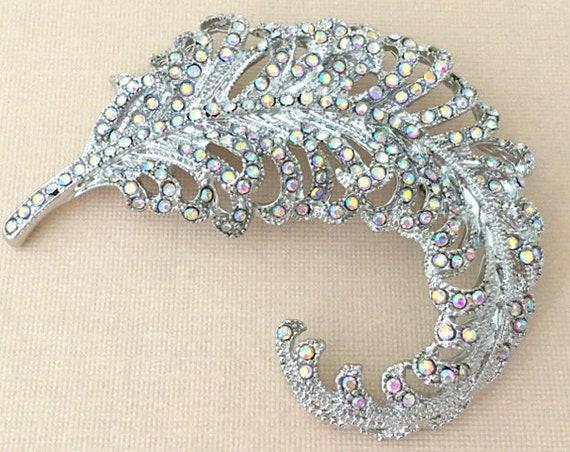 AB Feather Brooch.Feather Rhinestone Brooch.Crystal Feather brooch.Feather Pin.Silver Feather Brooch.Vintage Style.broach.Iridescent.wedding