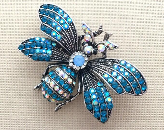 Vintage Style Teal Rhinestone Bee PENDANT
