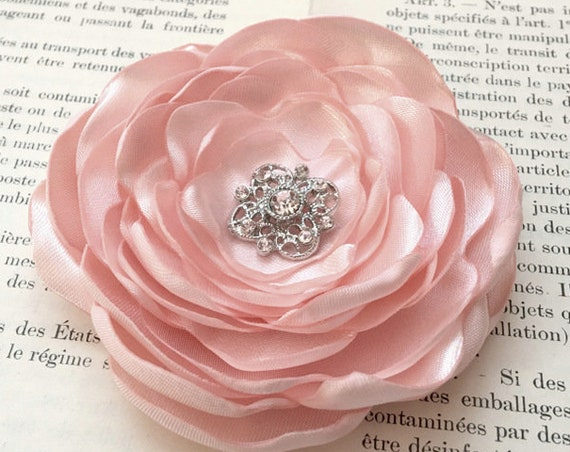 Blush Pink Satin Flower Hair Clip or Brooch Pin. Choose your size & Button/Bead Finish. Handmade.