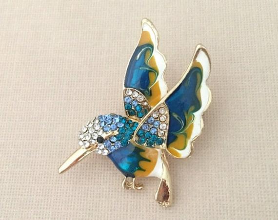 Teal Enamel Hummingbird Brooch Pin