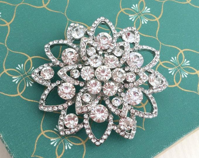 Platinum Crystal Flower Brooch Pin