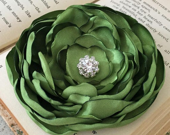 Peridot Green Flower Hair Clip or Brooch Pin. Choose size and button/bead finish. Handmade.