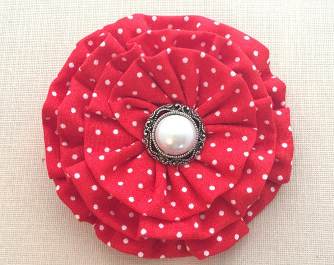 Red & White Polka Dot Fabric Flower Hair Clip and/or Brooch Pin