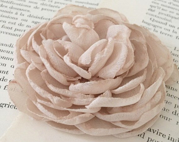 Nude Chiffon Flower Hair Clip or Brooch Pin. Choose size.