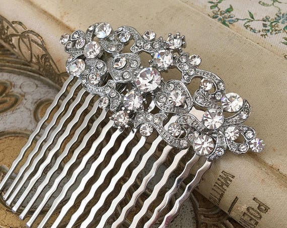 Vintage Style Crystal Hair Comb.Crystal Bridal Hair Comb.Platinum Clear Crystal Hair comb.Crystal Wedding Headpiece.Silver Bridal Hair Piece